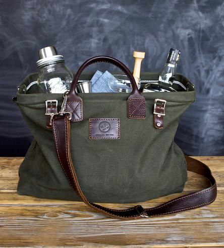 The complete travel bar: includes mason jar cocktail shaker, wood muddler, jigger for measuring libations, two cocktail napkins and two coupe glasses, all packed inside a canvas and leather carryall bag. Happy hour whenever, wherever.