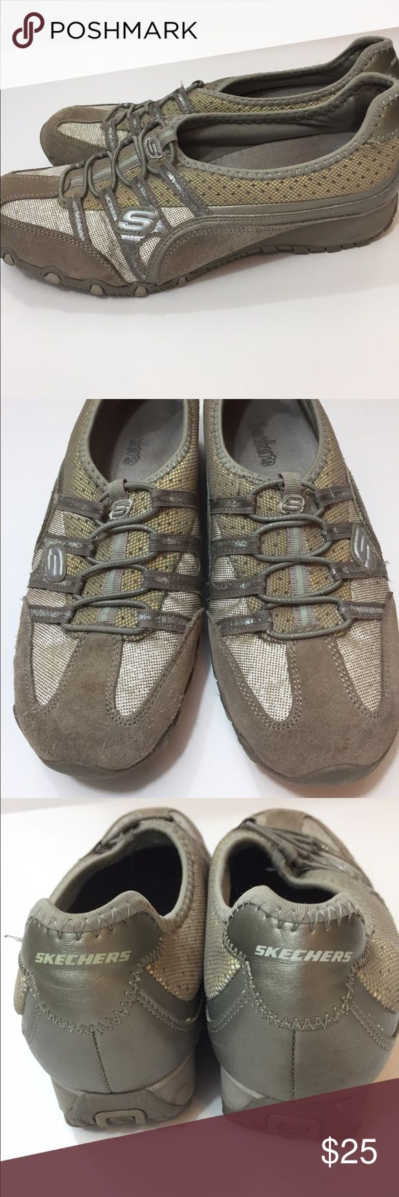 Skechers slip on shoes These shoes are tan with gold and silver. Not much wrong with them. Nice! True to size Skechers Shoes Sneakers