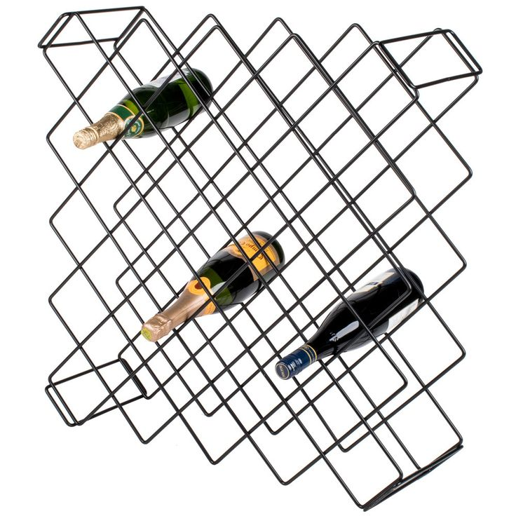 "Make efficient use of your wine storage area with this 26 1/2"" x 26 1/2"" black wire wine rack module! Designed to hold up to (45) 750 mL bottles, this wine storage module may be used as a free-standing unit or paired with your existing wire shelving. It ships completely assembled so that you can start organizing your wine bottles right away. Plus, clear plastic ties are included so that you can quickly and easily secure this module to your shelving.<br><br> This wire wine rack module is a…"