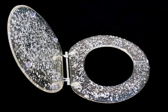 Mid-Century Modern Lucite Toilet Seat Cover  Silver Flake