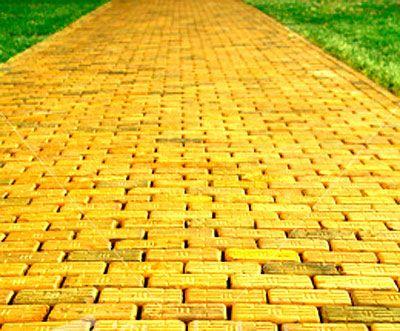 follow the yellow brick road - follow, follow, follow, follow - follow the yellow brick road