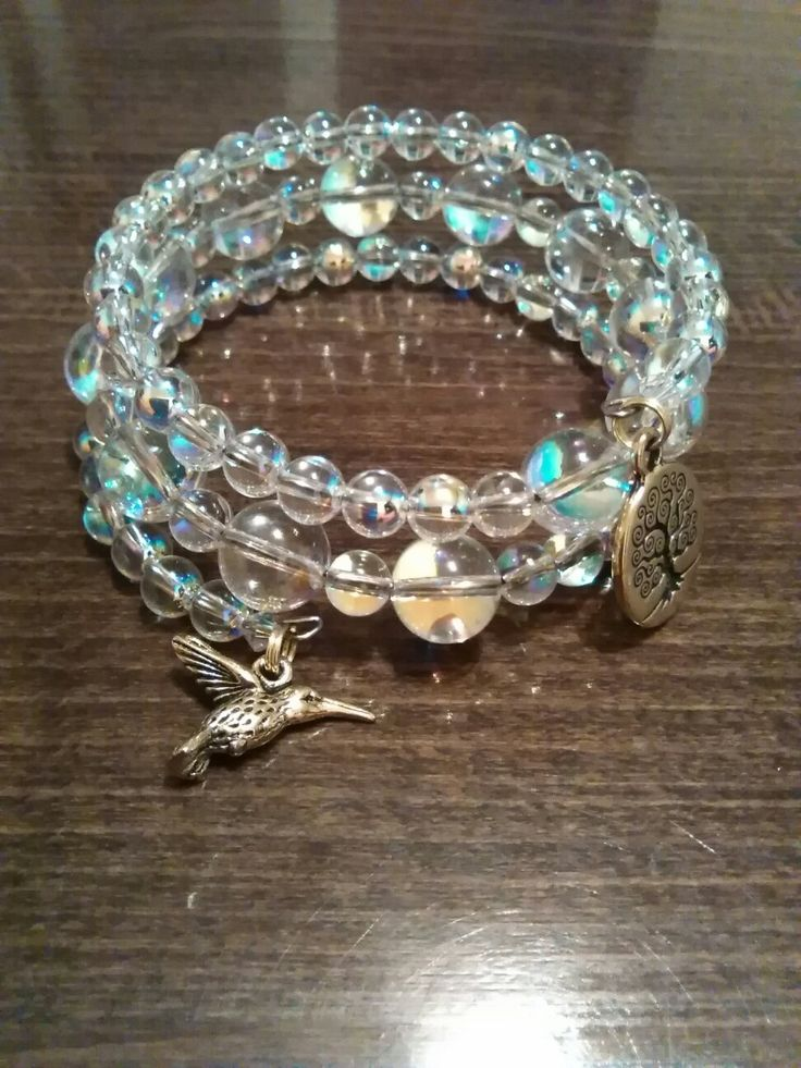 Memory wire bracelet Swarovsky beads-AB