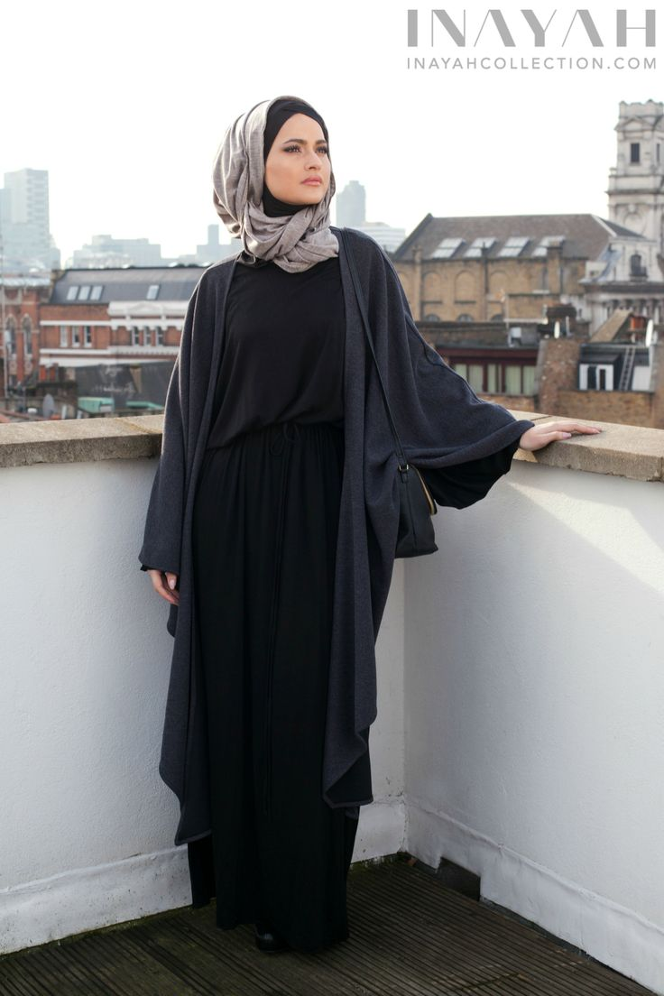 Knitted wrap paired with the basic black abaya and a jersey grey hijab www.inayahcollection.com
