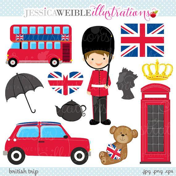 British Trip Cute Digital Clipart - Commercial Use OK - London Clipart, UK Graphics, London England Britian