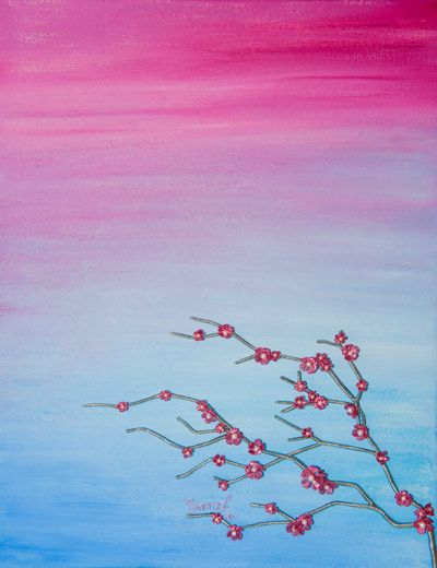 Wire Art on canvas from ButterflyOnBlue: Pink wire cherry blossoms against a bright painted canvas by Sarah Jansma