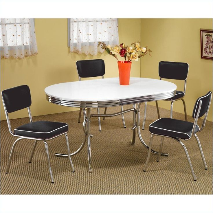 Coaster Cleveland 5 Piece Chrome Plated Dining Set in White/Black - 2065-2450Rx4-PKG - Lowest price online on all Coaster Cleveland 5 Piece Chrome Plated Dining Set in White/Black - 2065-2450Rx4-PKG