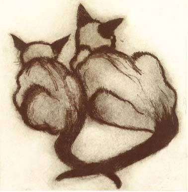 Siamese, Cats (Susie Perring) - My two Siamese, Keiki and Ramses, looked just like that sitting together.