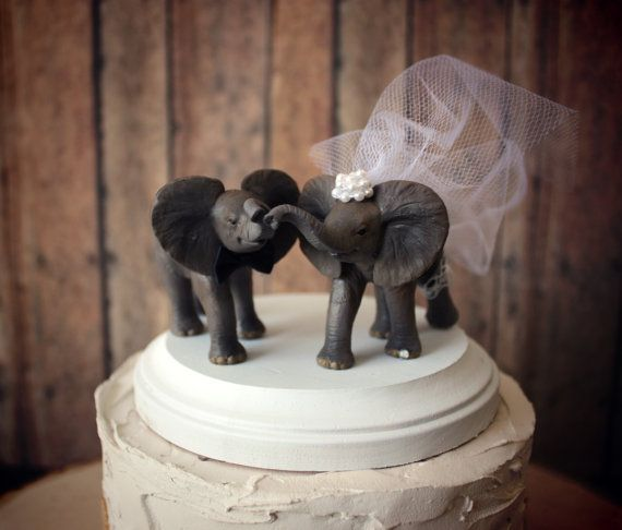 Elephant wedding cake topperelephant by MorganTheCreator on Etsy, $42.00