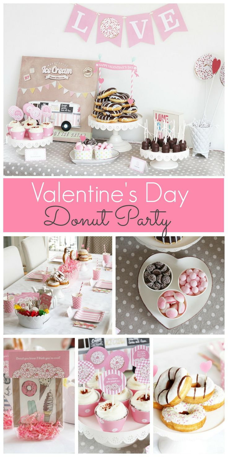 Love this donut Valentine's Day party! Donuts are fun for Valentine's Day breakfast! See more party ideas at CatchMyParty.com.