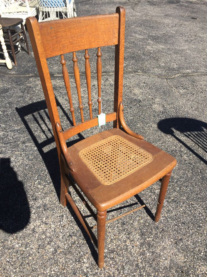 Vintage Cane Seat Spindle Back Wood Chair
