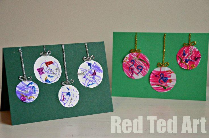 Very simple but effective, Preschooler Christmas Cards via www.redtedart.com