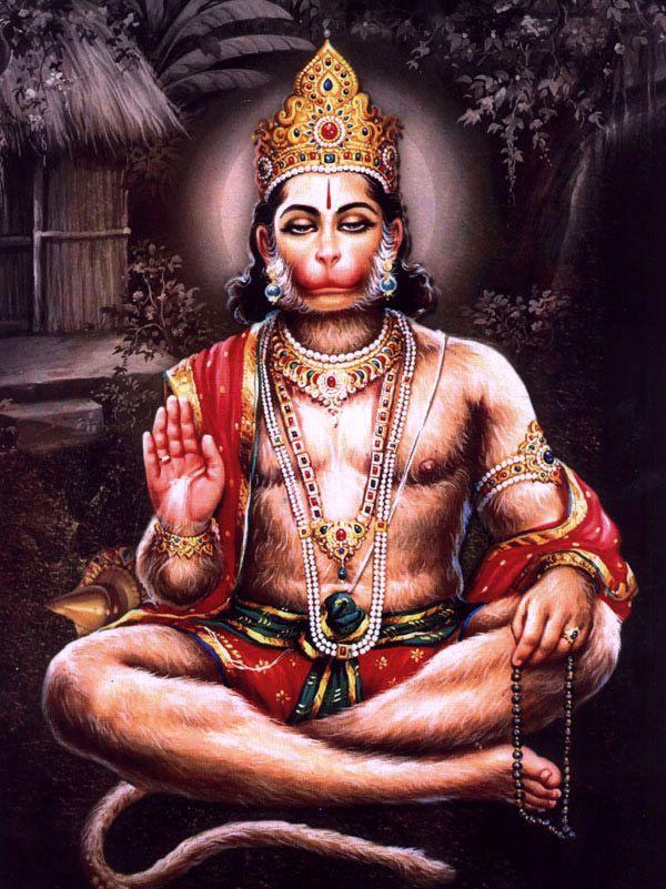 Lord Hanuman singing Hymns of Lord Rama and Sita