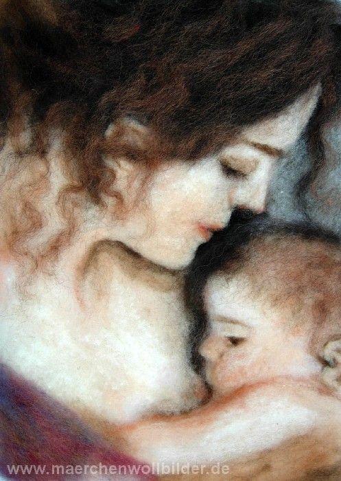 Wollbild Mutter und Kind - Schafwolle