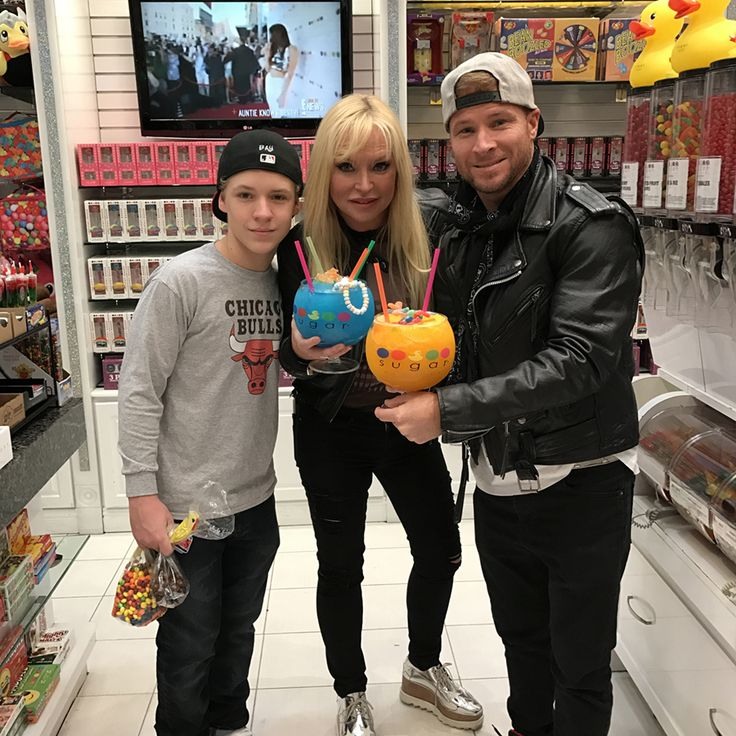 Backstreet Boy Brian Littrell and family stop by Sugar Factory in the Miracle Mile shops in Vegas
