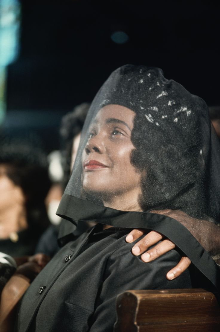 Atlanta, Georgia April 9, 1968. Coretta Scott King listens to a sermon at the funeral of her husband Martin Luther King