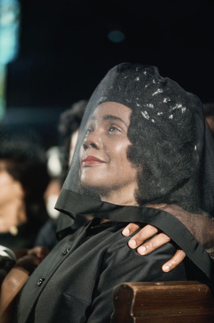 Atlanta, Georgia April 9, 1968. Coretta Scott King listens to a sermon at the funeral of her husband Martin Luther King Jr.