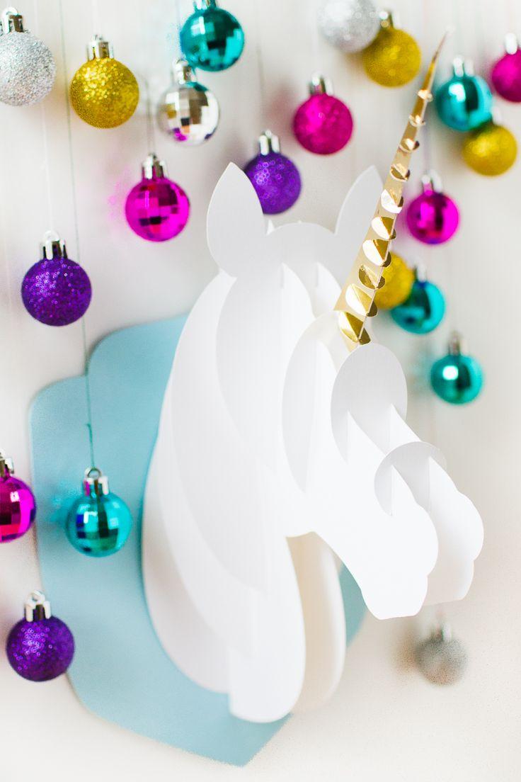 Unicorn head DIY christmas decoration tutorial 3d papercraft cricut card xmas modern_-4