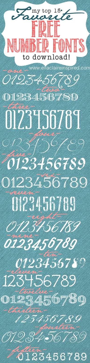 15 fuentes numéricas Top favoritos GRATIS con enlaces!  Excelente para la tipografía y proyectos de bricolaje numeradas!