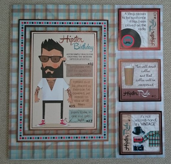 Handmade 8 x 8 Square Greeting Card  Hipster by BavsCrafts on Etsy