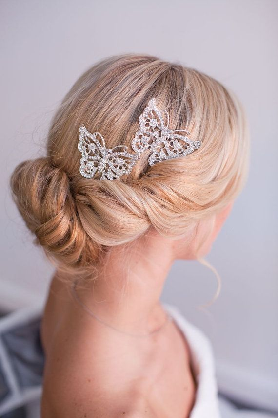 Brooklyn Butterfly Hair Comb Crystal Hair Comb by StellasDesign, $56.00