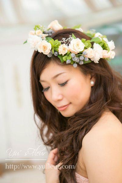 Yu's fleur (ユーズフルール)Wedding flower 港区ベイエリア flower Salon   花冠♡シャーベットオレンジのプリザーブドフラワーローズのはなかんむり