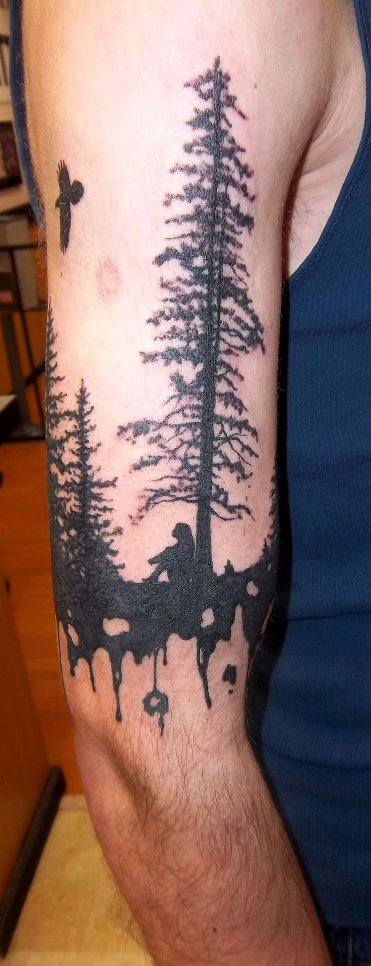 silhouette tree tattoo with a woman under it | Holy Roller ...