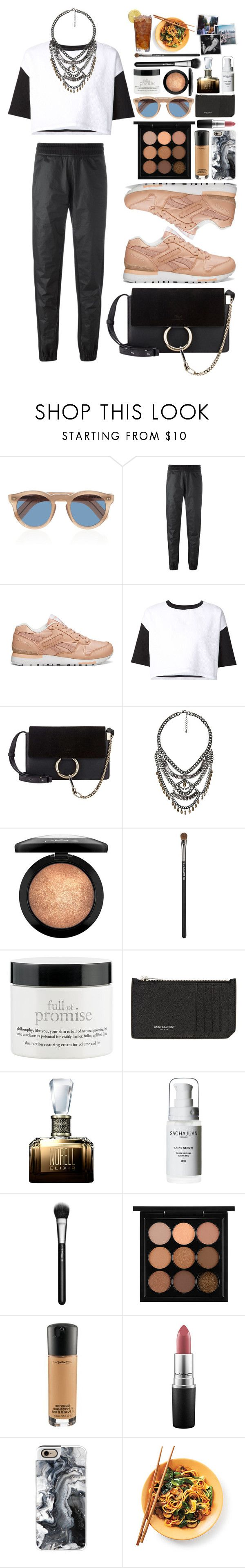 """In Common"" by vanessasimao ❤ liked on Polyvore featuring Cutler and Gross, adidas Originals, Reebok, ComeForBreakfast, Chloé, MANGO, MAC Cosmetics, philosophy, Yves Saint Laurent and Norell"
