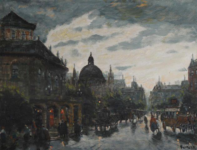 Antal Berkes (Hungarian, 1874-1938) Street scene at night