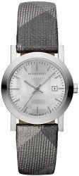 Burberry Watch, Women's Swiss Silver Shimmer Check Fabric Strap 28mm BU1873