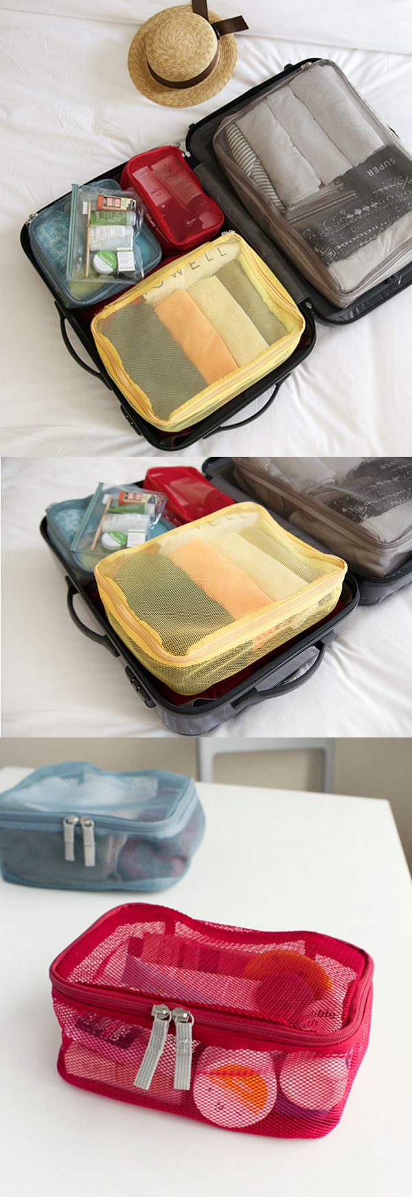 The Luggage Mesh Bag Set is perfect for my next travel as the 5 differently sized pouches makes it convenient to pack my items! By keeping things organized utilizing the pouches, there are more luggage spaces to use the bag more effectively! Plus, the pouches are made of mesh material so that I can see what's inside the pouches and access them quickly and easily.