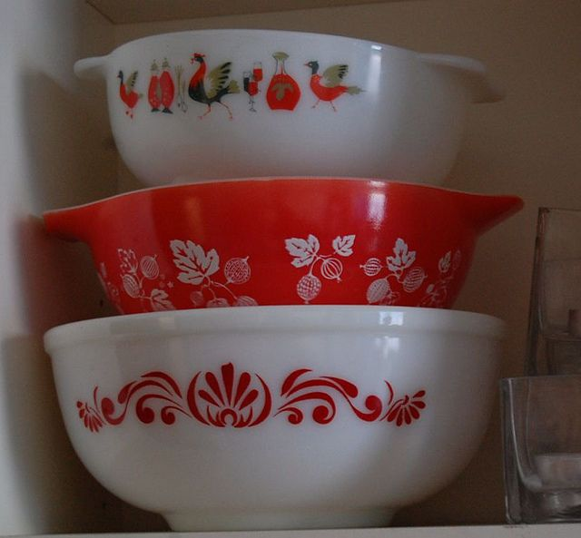 Red & White Pyrex - England I have gold color - would love to trade it for some Red!!