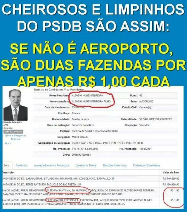 """Eleição 2014 >>> Em declaração de bens, vice  de Aécio tem fazenda de R$ 1 """"Dados ficam disponíveis no DivulgaCand 2014, do TSE, e podem ser consultados por qualquer um"""