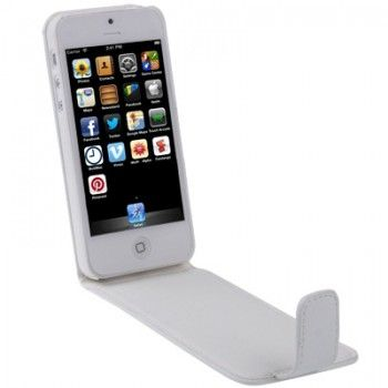 iPhone 5/5S Cases : Vertical Flip Leather Case for iPhone 5 & 5s - White