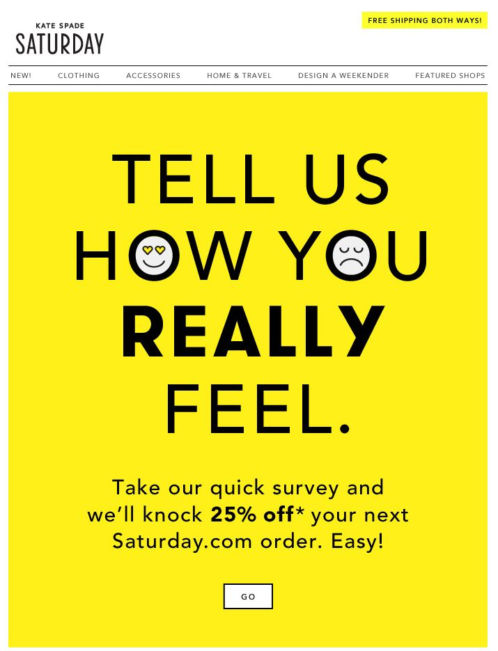 Kate Spade Saturday survey email