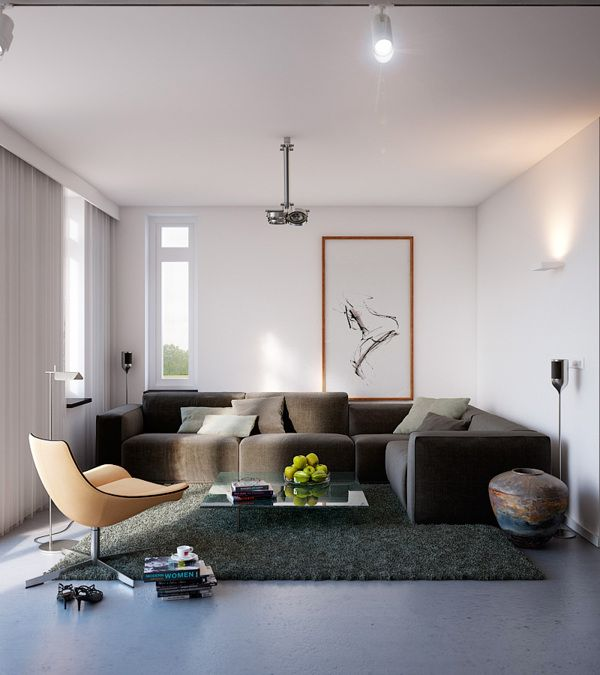 Interior Design, White Curtain Ceiling Light Beige Sectional Sofa Grey Fur  Rug Standing Lamps Cushion Wall Lamp Glass Sliding Door Brown Yellowish  Swivel ...