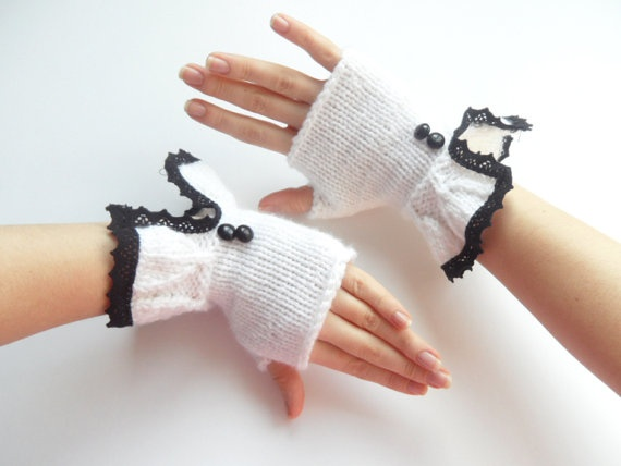 Romantic white fingerless gloves mittensmother's Day by fatoss, $30.00
