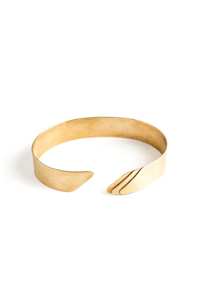"By Truss & Ore, a solid matte brass cuff with a subtle geometric design. - 1/2"" width - Adjustable size Made in San Francisco, CA"