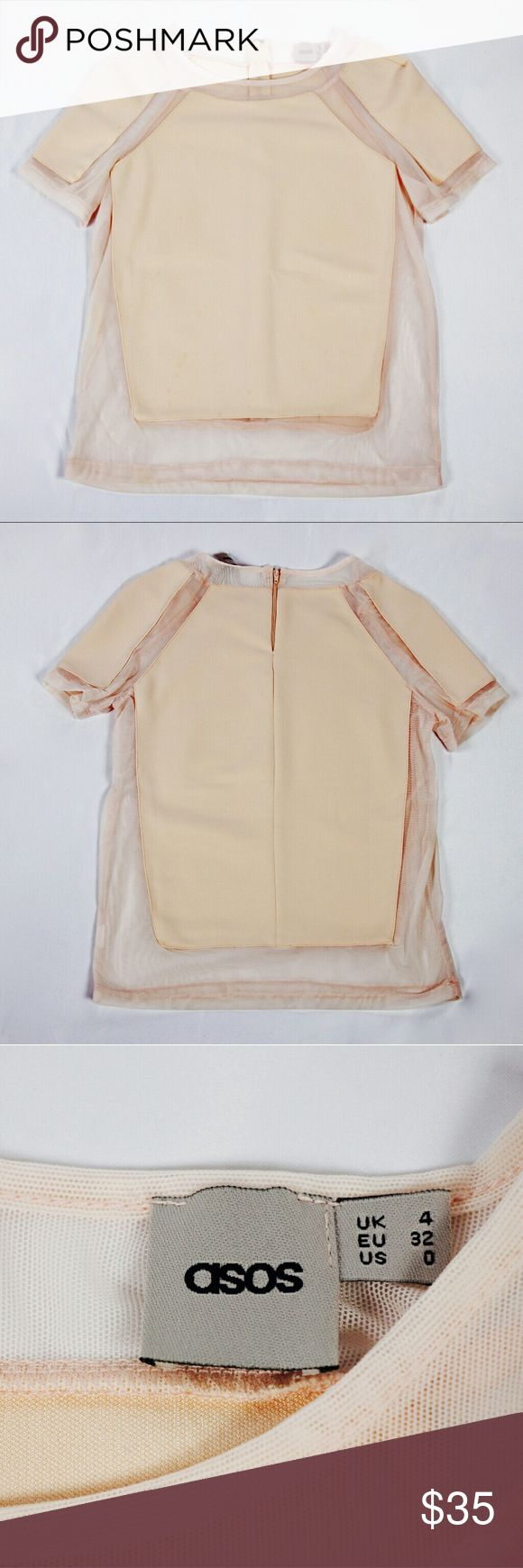 [ASOS] Sheer Panel Top ASOS top in a pretty nude pink color with unique sheer panel details at the neckline, sleeves, sides, and hem. Short sleeve with zipper back closure. Sold out style! Size 0. Pre-loved in overall good condition. ASOS Tops