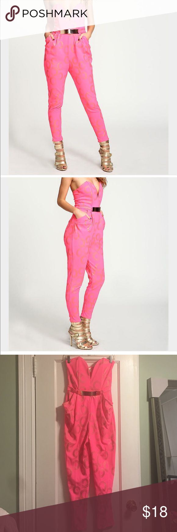 Neon pink gold ring sweetheart jumpsuit Never worn! Bought for a 70s theme party. Love Culture Pants Jumpsuits & Rompers