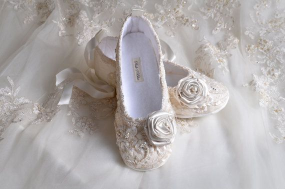 Wedding Shoes- Limited Edition Victoria Bridal Ballet Flat, Vintage Lace, French Sequins, Swarovski Crystals and Pearls- Handmade Shoes on Etsy, $325.00