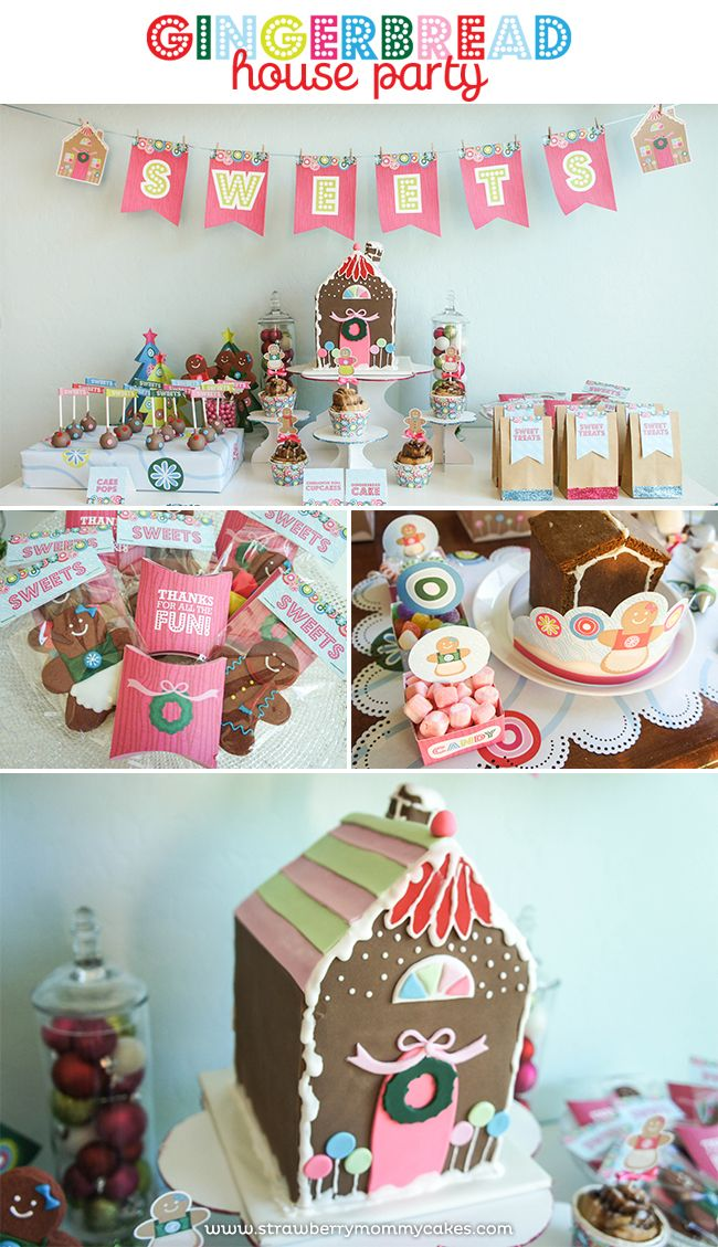 Gingerbread House Party on www.strawberrymommycakes.com