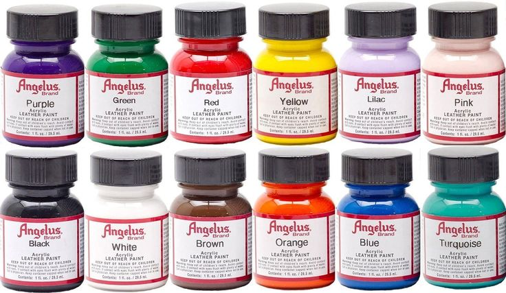 - Angelus Acrylic Leather Paint Starter Kit - Black, Blue, Brown, Green, Lilac, Orange, Pink, Purple, Red, Turquoise, White and Yellow - 12 color kit of Angelus Acrylic Paint each 1 oz. bottle has a l