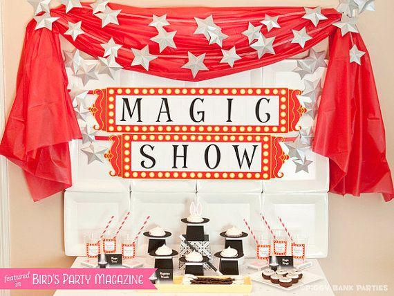 MAGIC TRICK Collection - DIY Printable Magician Birthday Party Decoration // Rabbit // Magician's Hat // Magic Show // Birthday Decor on Etsy, $30.00
