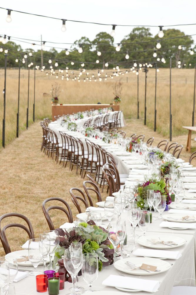 Outdoor wedding - Feast in the field featuring our winding table. Event Design/Styling: The Style Co.  Stationery: The Style Co.  Flowers: Flower Jar for The Style Co.  Photos: Louisa Bailey  www.thestyleco.com.au  #thestyleco #eventstyling #weddingstyling