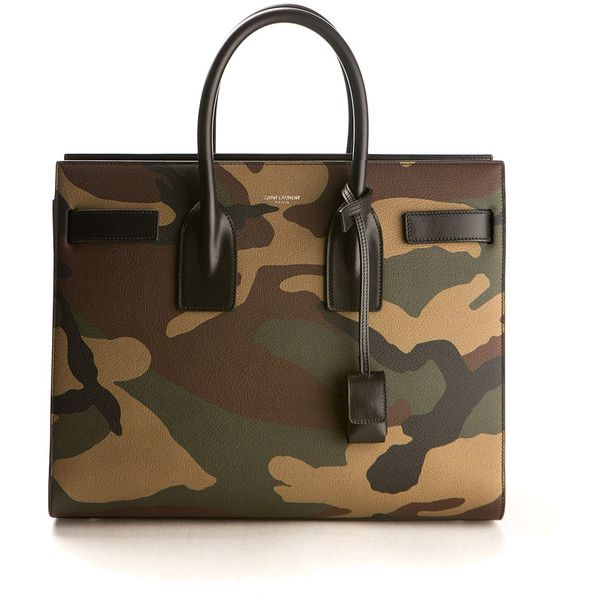 Saint Laurent Small Sac De Jour Camo Printed Leather Bag ($2,750) ❤ liked on Polyvore featuring bags, handbags, camoflauge purse, leather purse, yves saint laurent handbags, studded leather purse and brown leather handbag