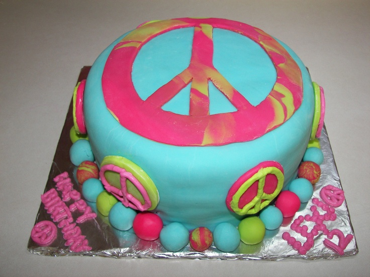 Peace Sign Birthday Cake - Hate fondant and so do the kids...so, I'll have to do this design with buttercream or whipcream icing.  Hmmm...