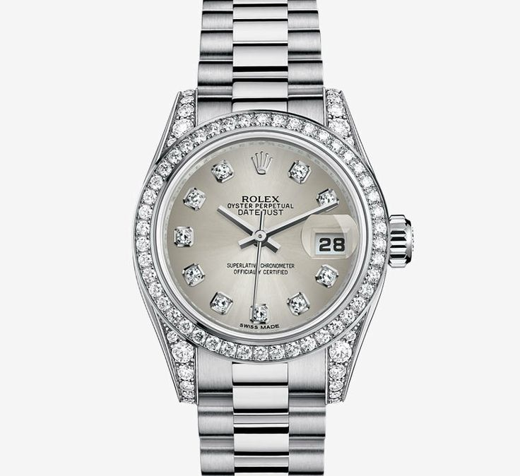 Oyster Platinum: Oyster Perpetual Lady Date-just In White Gold And Diamonds