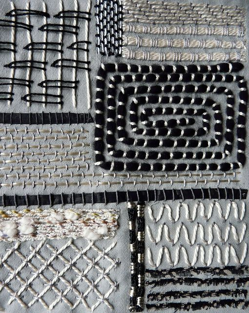 Monochrome embroidery stitch samples - high contrast black & white stitched patterns; decorative stitches; textiles surface design