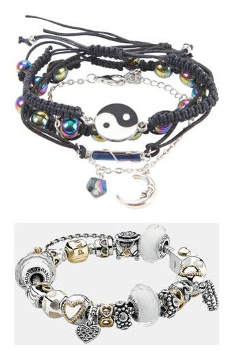 """Ava Maximoff's Jewelry: Bracelets and Cuffs"" by nerdbucket ❤ liked on Polyvore featuring jewelry, bracelets, beaded cord bracelet, crystal bangle, rope bracelet, yin yang charm, fake jewelry, accessories, pandora and 14k bangle"