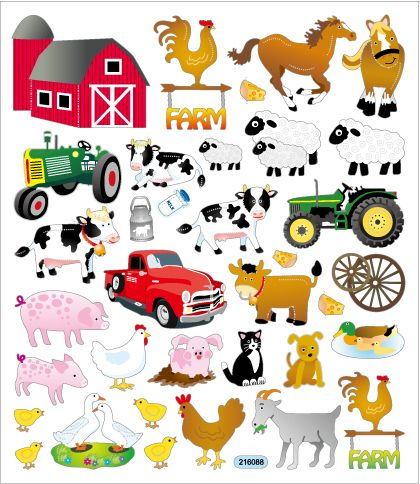 """Farm Animal Stickers used-to decorate cards & envelopes. """" On the Farm""""."""